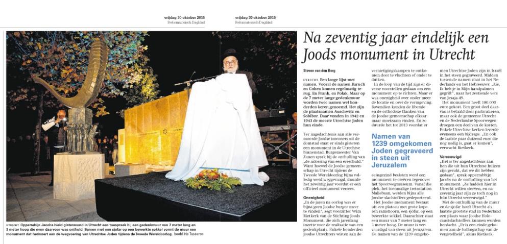 Reformatorisch Dagblad 30 oktober 2015